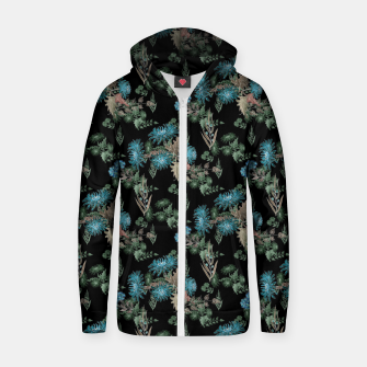 blue chrysanthemums black watercolor blue, green, black, flowers, leaves, chrysanthemums, colorful, watercolor flowers, watercolor Zip up hoodie thumbnail image