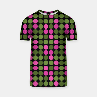 Imagen en miniatura de Pink and olive polka dots on black bubbles circles retro vintage T-shirt, Live Heroes