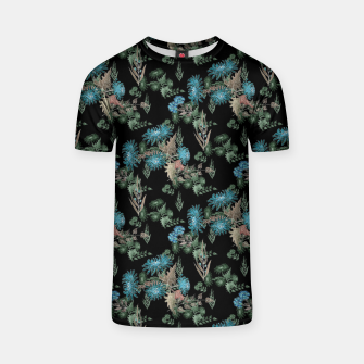 blue chrysanthemums black watercolor blue, green, black, flowers, leaves, chrysanthemums, colorful, watercolor flowers, watercolor T-shirt thumbnail image
