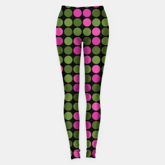 Imagen en miniatura de Pink and olive polka dots on black bubbles circles retro vintage Leggings, Live Heroes