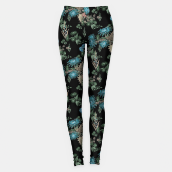 blue chrysanthemums black watercolor blue, green, black, flowers, leaves, chrysanthemums, colorful, watercolor flowers, watercolor Leggings thumbnail image