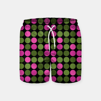 Imagen en miniatura de Pink and olive polka dots on black bubbles circles retro vintage Swim Shorts, Live Heroes