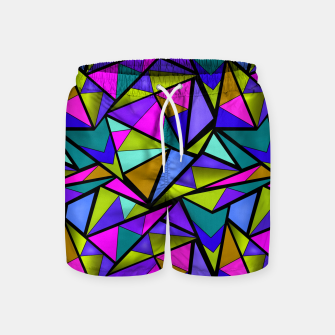 Imagen en miniatura de Abstract geometric pattern colorful triangles in pink blue line, black, blue, pink, green, colorful, abstract, shapes, geometric Swim Shorts, Live Heroes