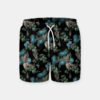 blue chrysanthemums black watercolor blue, green, black, flowers, leaves, chrysanthemums, colorful, watercolor flowers, watercolor Swim Shorts thumbnail image