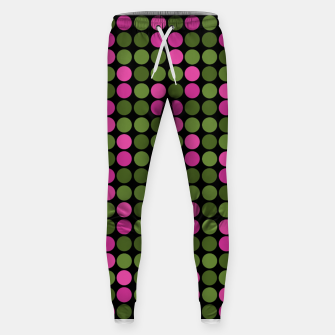 Imagen en miniatura de Pink and olive polka dots on black bubbles circles retro vintage Sweatpants, Live Heroes