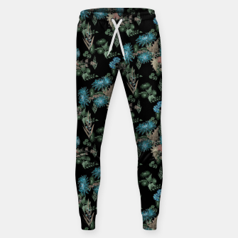 blue chrysanthemums black watercolor blue, green, black, flowers, leaves, chrysanthemums, colorful, watercolor flowers, watercolor Sweatpants thumbnail image