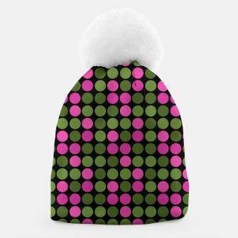 Imagen en miniatura de Pink and olive polka dots on black bubbles circles retro vintage Beanie, Live Heroes