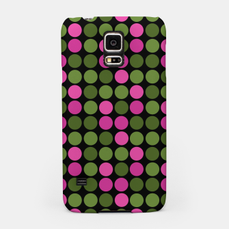 Imagen en miniatura de Pink and olive polka dots on black bubbles circles retro vintage Samsung Case, Live Heroes