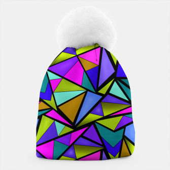 Imagen en miniatura de Abstract geometric pattern colorful triangles in pink blue line, black, blue, pink, green, colorful, abstract, shapes, geometric Beanie, Live Heroes