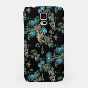 blue chrysanthemums black watercolor blue, green, black, flowers, leaves, chrysanthemums, colorful, watercolor flowers, watercolor Samsung Case thumbnail image