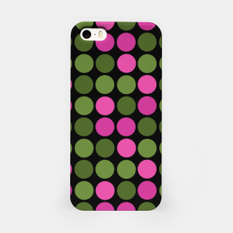 Imagen en miniatura de Pink and olive polka dots on black bubbles circles retro vintage iPhone Case, Live Heroes