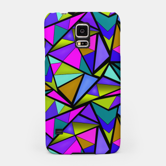 Imagen en miniatura de Abstract geometric pattern colorful triangles in pink blue line, black, blue, pink, green, colorful, abstract, shapes, geometric Samsung Case, Live Heroes