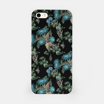 blue chrysanthemums black watercolor blue, green, black, flowers, leaves, chrysanthemums, colorful, watercolor flowers, watercolor iPhone Case thumbnail image
