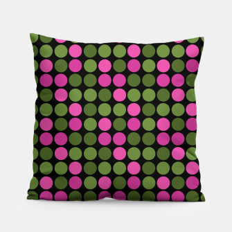 Imagen en miniatura de Pink and olive polka dots on black bubbles circles retro vintage Pillow, Live Heroes