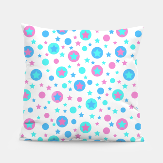Thumbnail image of Geometric circles and stars kids fun bright cartoon seamless pattern Pillow, Live Heroes
