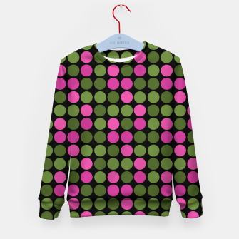 Imagen en miniatura de Pink and olive polka dots on black bubbles circles retro vintage Kid's sweater, Live Heroes