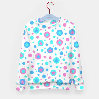 Thumbnail image of Geometric circles and stars kids fun bright cartoon seamless pattern Kid's sweater, Live Heroes