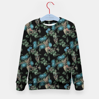 Thumbnail image of blue chrysanthemums black watercolor blue, green, black, flowers, leaves, chrysanthemums, colorful, watercolor flowers, watercolor Kid's sweater, Live Heroes