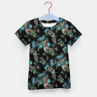 blue chrysanthemums black watercolor blue, green, black, flowers, leaves, chrysanthemums, colorful, watercolor flowers, watercolor Kid's t-shirt thumbnail image