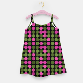Imagen en miniatura de Pink and olive polka dots on black bubbles circles retro vintage Girl's dress, Live Heroes