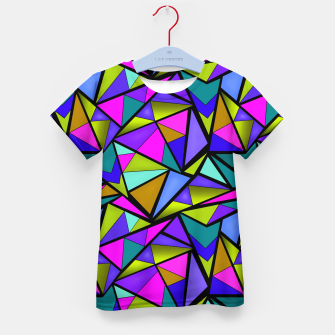 Thumbnail image of Abstract geometric pattern colorful triangles in pink blue line, black, blue, pink, green, colorful, abstract, shapes, geometric Kid's t-shirt, Live Heroes