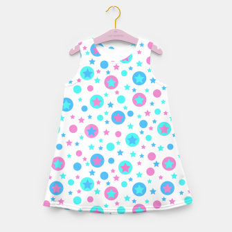 Thumbnail image of Geometric circles and stars kids fun bright cartoon seamless pattern Girl's summer dress, Live Heroes