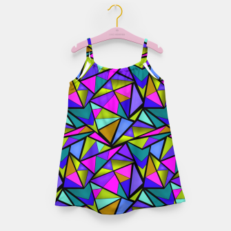 Thumbnail image of Abstract geometric pattern colorful triangles in pink blue line, black, blue, pink, green, colorful, abstract, shapes, geometric Girl's dress, Live Heroes