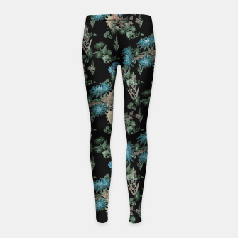 Thumbnail image of blue chrysanthemums black watercolor blue, green, black, flowers, leaves, chrysanthemums, colorful, watercolor flowers, watercolor Girl's leggings, Live Heroes