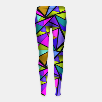 Thumbnail image of Abstract geometric pattern colorful triangles in pink blue line, black, blue, pink, green, colorful, abstract, shapes, geometric Girl's leggings, Live Heroes