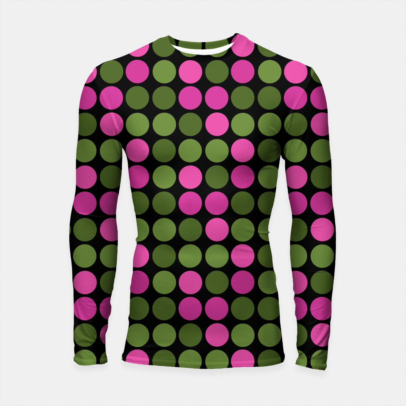 Image of Pink and olive polka dots on black bubbles circles retro vintage Longsleeve rashguard  - Live Heroes