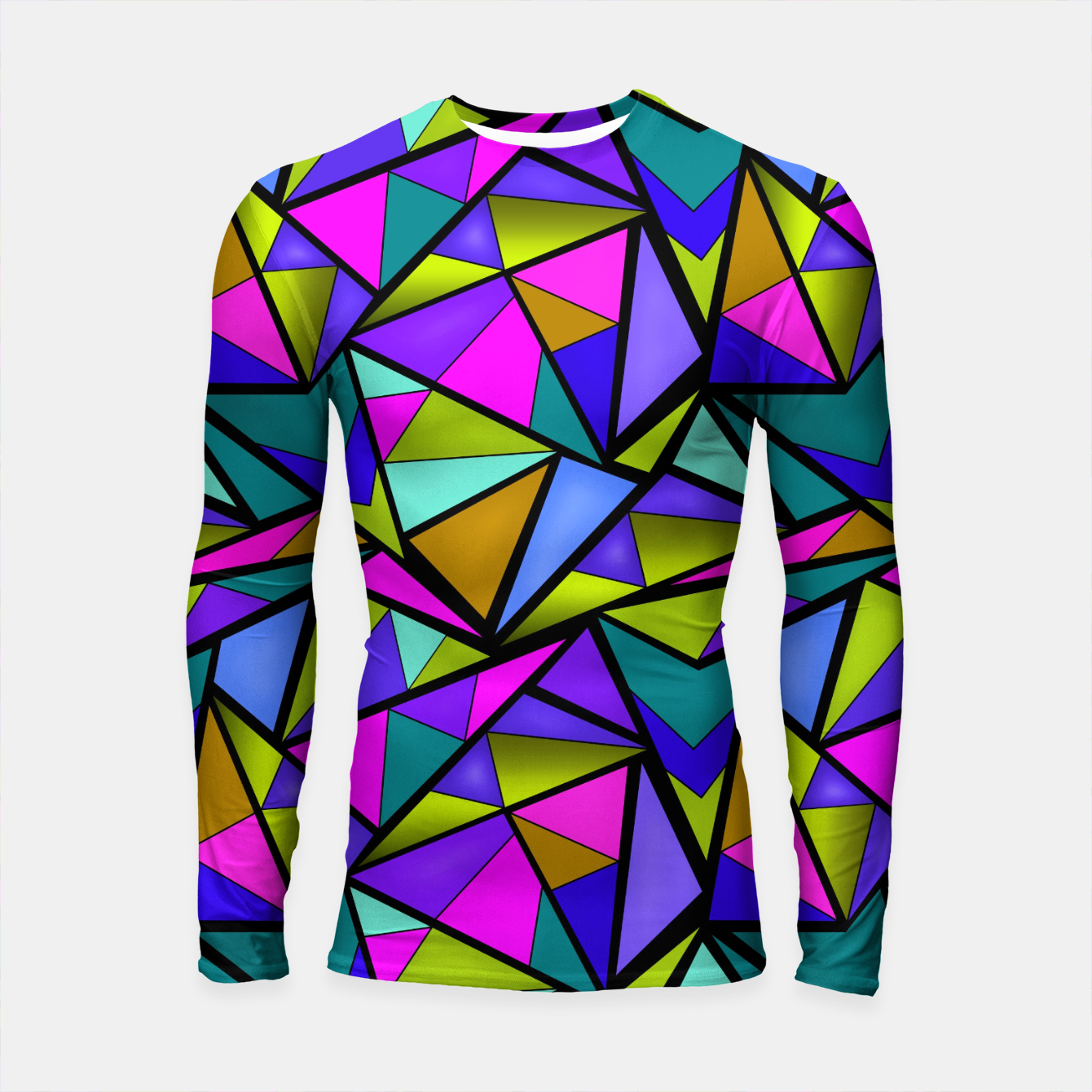 Image of Abstract geometric pattern colorful triangles in pink blue line, black, blue, pink, green, colorful, abstract, shapes, geometric Longsleeve rashguard  - Live Heroes