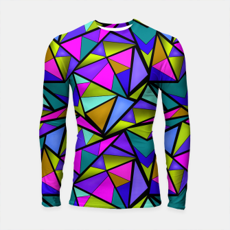 Thumbnail image of Abstract geometric pattern colorful triangles in pink blue line, black, blue, pink, green, colorful, abstract, shapes, geometric Longsleeve rashguard , Live Heroes