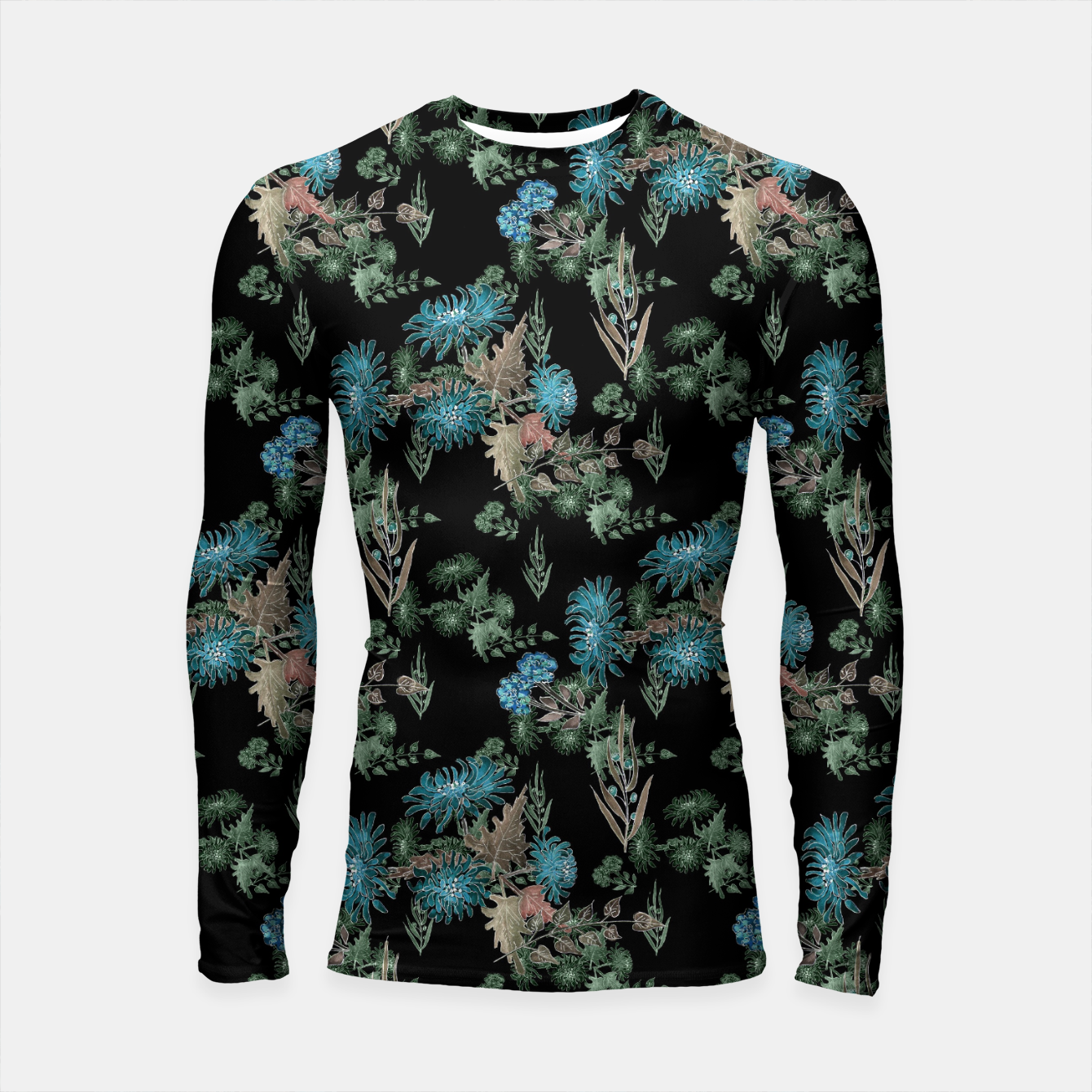 Image of blue chrysanthemums black watercolor blue, green, black, flowers, leaves, chrysanthemums, colorful, watercolor flowers, watercolor Longsleeve rashguard  - Live Heroes