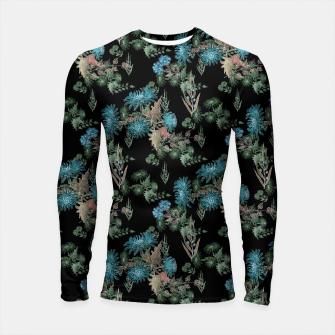 Thumbnail image of blue chrysanthemums black watercolor blue, green, black, flowers, leaves, chrysanthemums, colorful, watercolor flowers, watercolor Longsleeve rashguard , Live Heroes