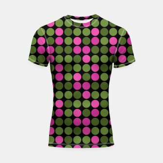 Thumbnail image of Pink and olive polka dots on black bubbles circles retro vintage Shortsleeve rashguard, Live Heroes