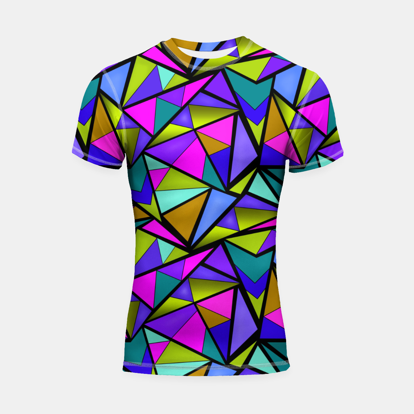 Image of Abstract geometric pattern colorful triangles in pink blue line, black, blue, pink, green, colorful, abstract, shapes, geometric Shortsleeve rashguard - Live Heroes