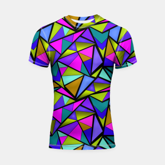 Thumbnail image of Abstract geometric pattern colorful triangles in pink blue line, black, blue, pink, green, colorful, abstract, shapes, geometric Shortsleeve rashguard, Live Heroes