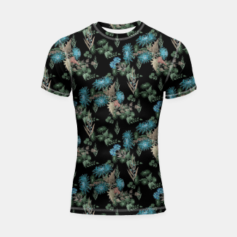 Thumbnail image of blue chrysanthemums black watercolor blue, green, black, flowers, leaves, chrysanthemums, colorful, watercolor flowers, watercolor Shortsleeve rashguard, Live Heroes