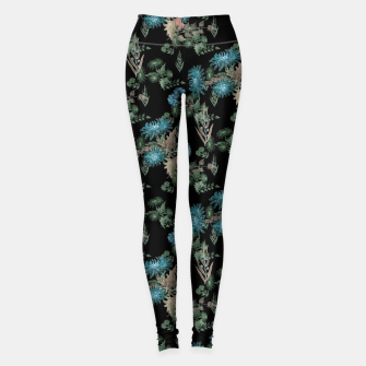 Thumbnail image of blue chrysanthemums black watercolor blue, green, black, flowers, leaves, chrysanthemums, colorful, watercolor flowers, watercolor Leggings, Live Heroes