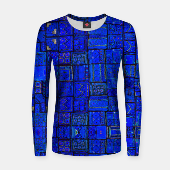 Thumbnail image of Deep Blue Traditional Moroccan Pattern  Women sweater, Live Heroes