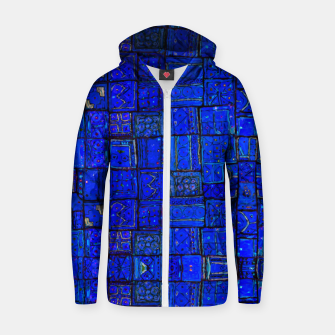 Thumbnail image of Deep Blue Traditional Moroccan Pattern  Zip up hoodie, Live Heroes