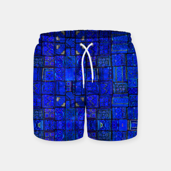 Miniatur Deep Blue Traditional Moroccan Pattern  Swim Shorts, Live Heroes