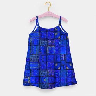 Miniatur Deep Blue Traditional Moroccan Pattern  Girl's dress, Live Heroes