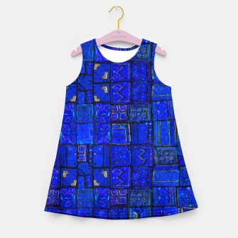 Miniatur Deep Blue Traditional Moroccan Pattern  Girl's summer dress, Live Heroes