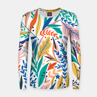 Miniatur Colorful exotic leaves pattern Women sweater, Live Heroes