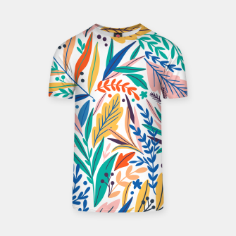 Miniatur Colorful exotic leaves pattern T-shirt, Live Heroes