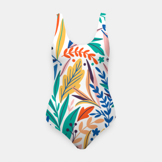 Miniatur Colorful exotic leaves pattern Swimsuit, Live Heroes