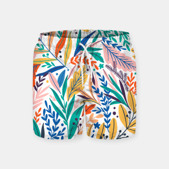Miniatur Colorful exotic leaves pattern Swim Shorts, Live Heroes