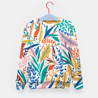 Miniatur Colorful exotic leaves pattern Kid's sweater, Live Heroes