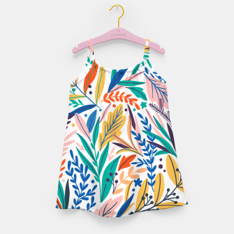 Thumbnail image of Colorful exotic leaves pattern Girl's dress, Live Heroes